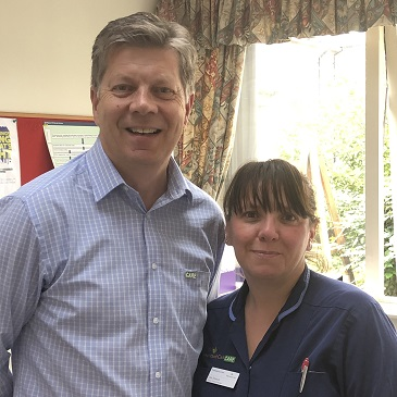Peter (Managing Director) and Lisa - Pennington Court staff - Professional Care Worker Day