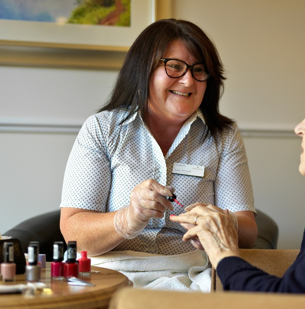 Beautician visits to paint resident's nails - Westward Care